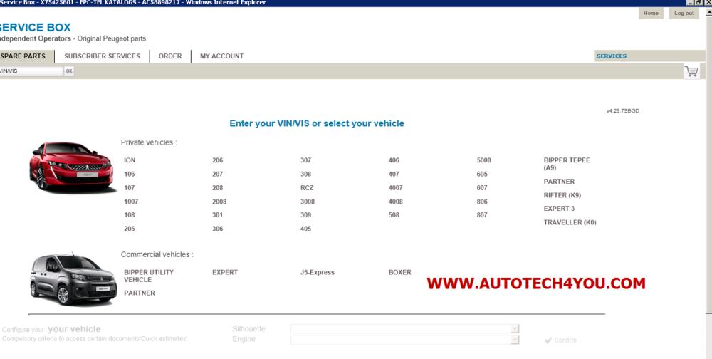 Inne rodzaje Peugeot Service Box Online   NL64