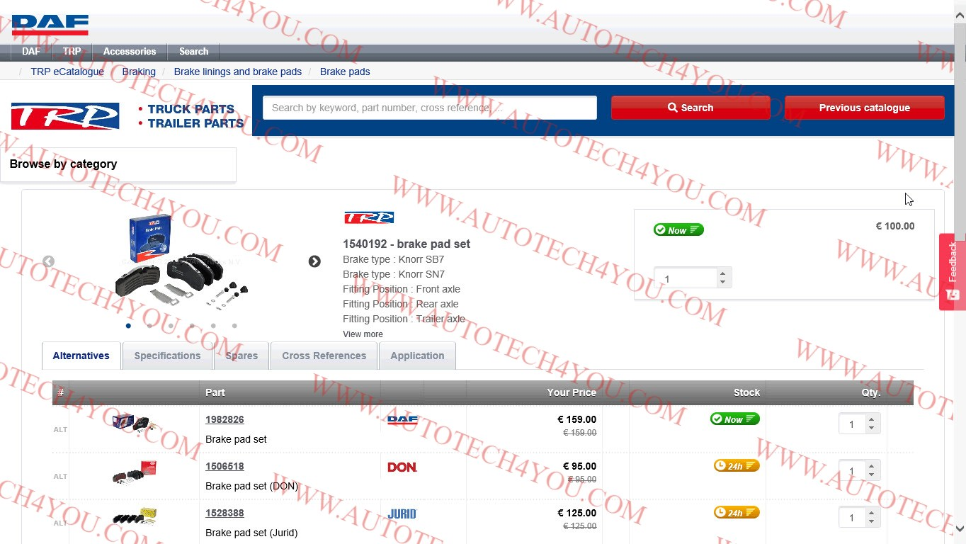 DAF & TRP parts catalog